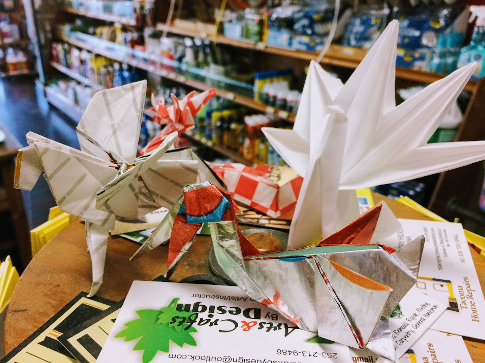 Stop by the register at Lincoln Hardware to see if some Origami by Tommy is still on display (Tommy creates pieces and gives them to local businesses).