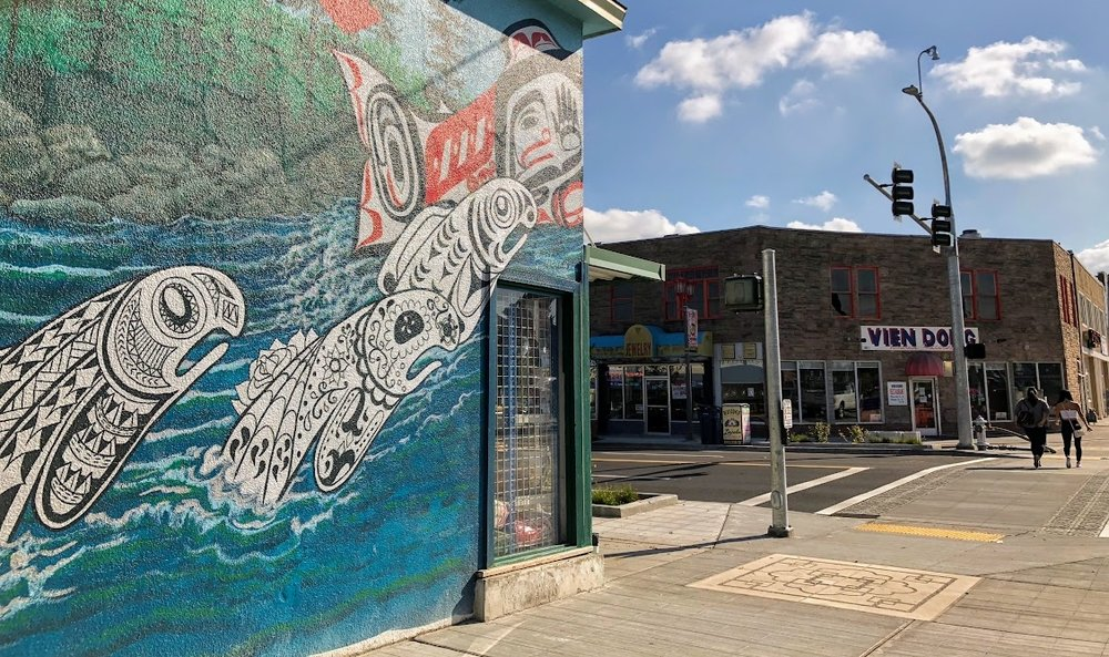 A portion of Bob Henry's Leaping Salmon Mural at S. 38th and Yakima