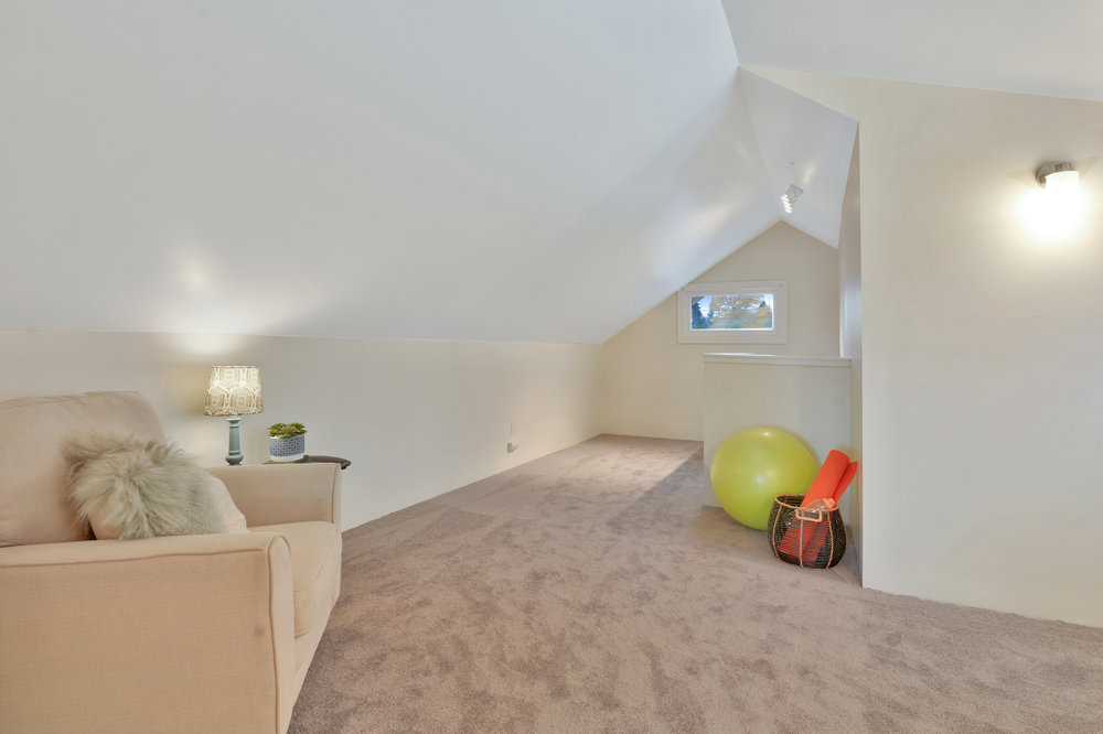 Use this upstairs space for reading, yoga, homework, office, or playroom.