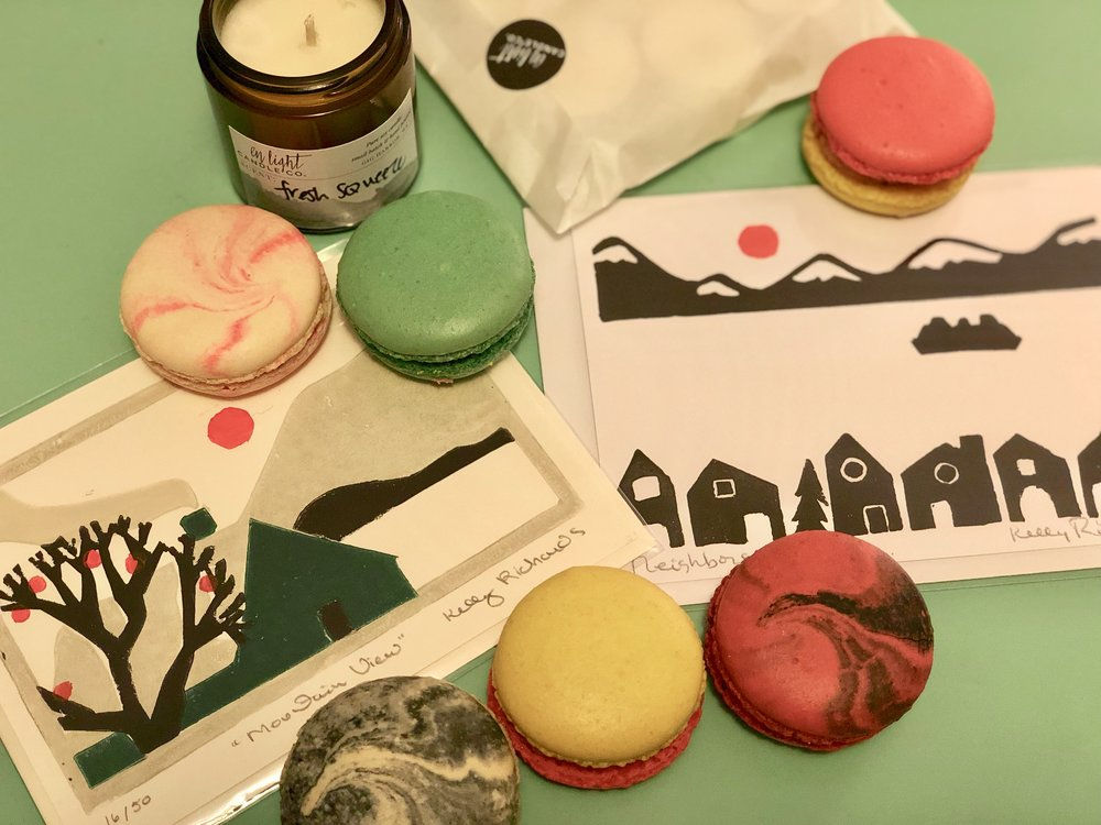 Some beauties from the January  Gig Harbor Night Market : delectable macarons from  Girl Loves Cake Desserts , block print Tacoma scene cards from  Port City Printworks , and a summer-vibes candle from  En Light Candle Co.  - and there was so much more!