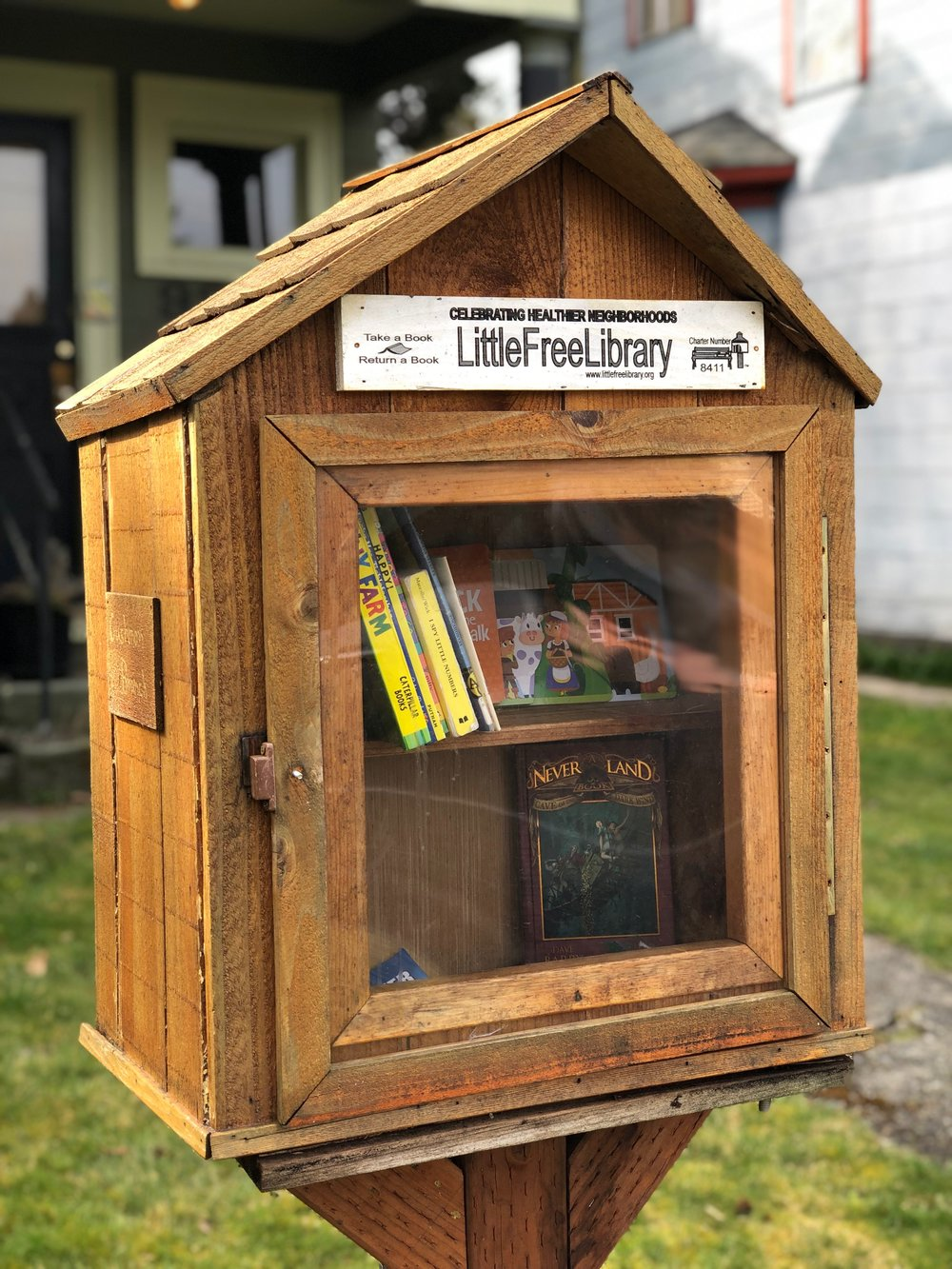 One of Tacoma's beautiful Little Libraries, you'll find the Cushman Branch on So. 9th & Cushman in the Hilltop Neighborhood. This Little Library was made with love by Chris Ferguson, a good friend of the Wong-Stroeh family.