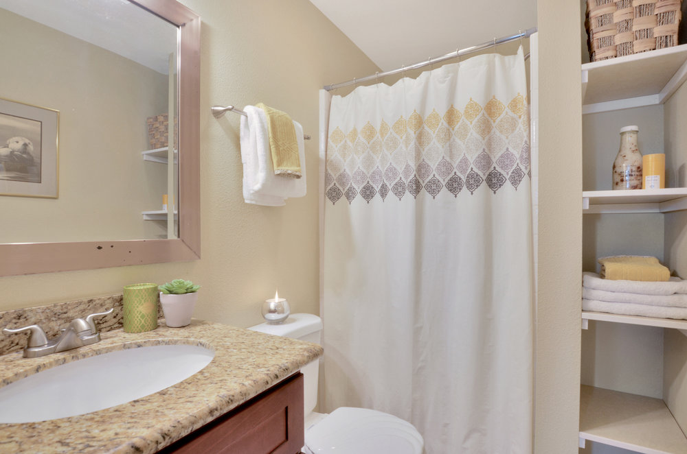 The private 3/4 bath attached to the main bedroom features a shower, vanity with storage, and shelves for linens and decor.