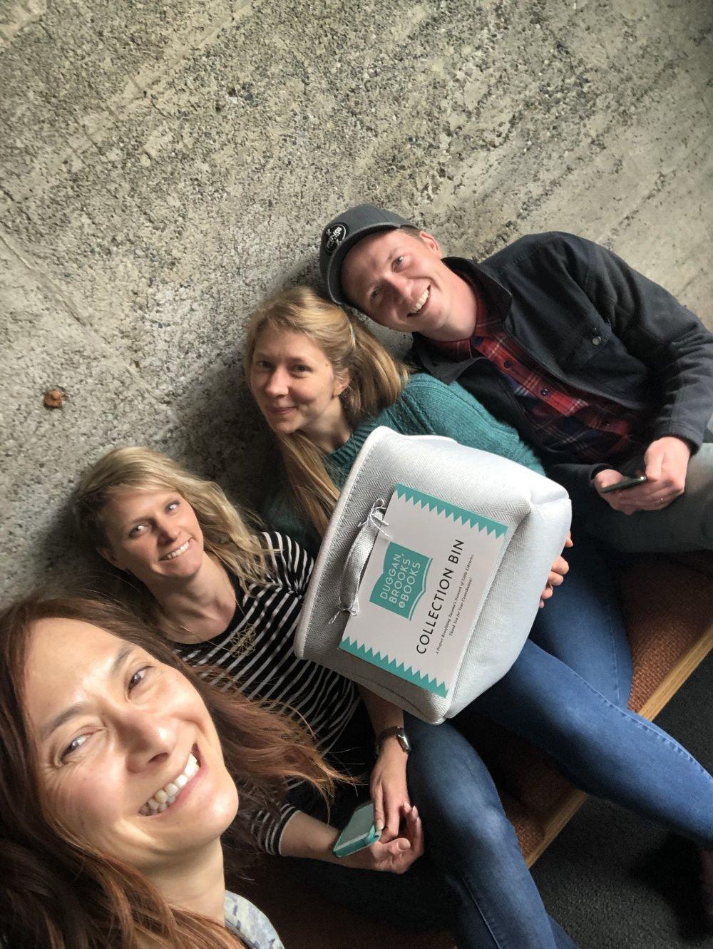 The Duggan, Brooks & Books Team meeting up at  Brooks Dental Studio  on Broadway (left to right: Dr. Jamie, Tori Fields, Gretchen and Michael Duggan)