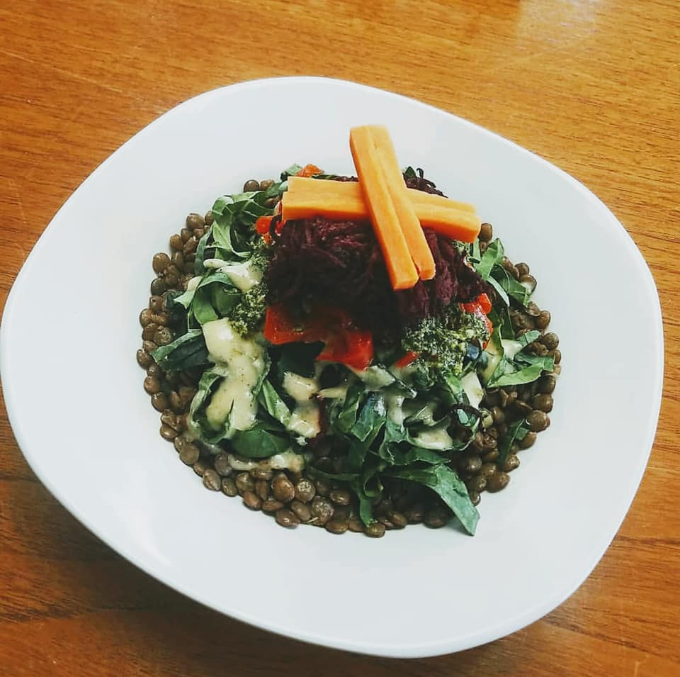 The Amanda: A layered salad with lentils, hummus, collards, pickled carrots, roasted red peppers, and roasted beets (gf)