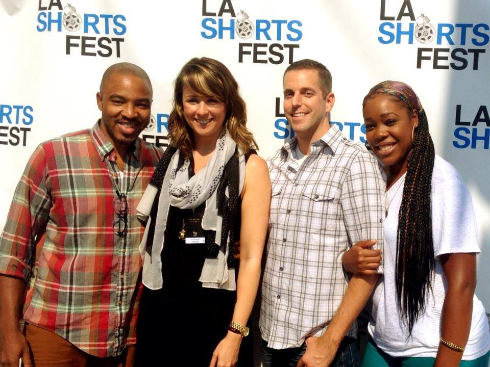 "At the LA Shorts Festival for the premiere of ""The Pretenders"" with member of the cast and director, Nathan Brunskill"