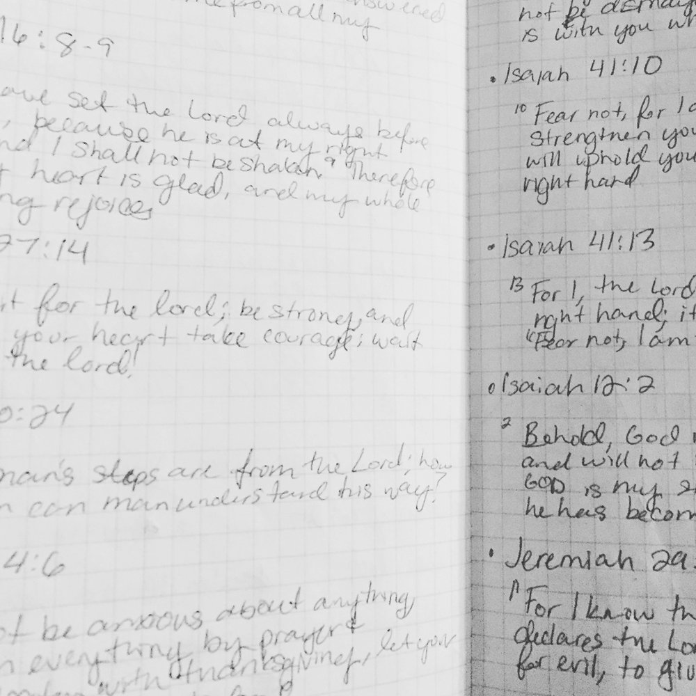Pages and pages of my notebook, now filled with scripture I cling to.