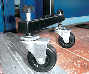 The screenflex room dividers come with self-leveling casters. Self-leveling casters conform to the dips and rises in a floor's surface, enabling the divider unit to glide effortlessly over uneven surfaces.