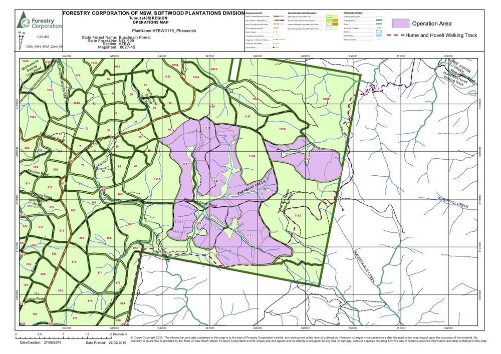 Pheasant's Creek Forestry Operations Map