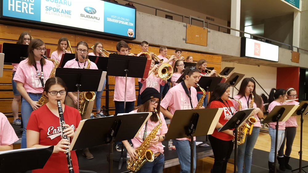 Performing at EWU's Reese Court for an EWU women's basketball game.