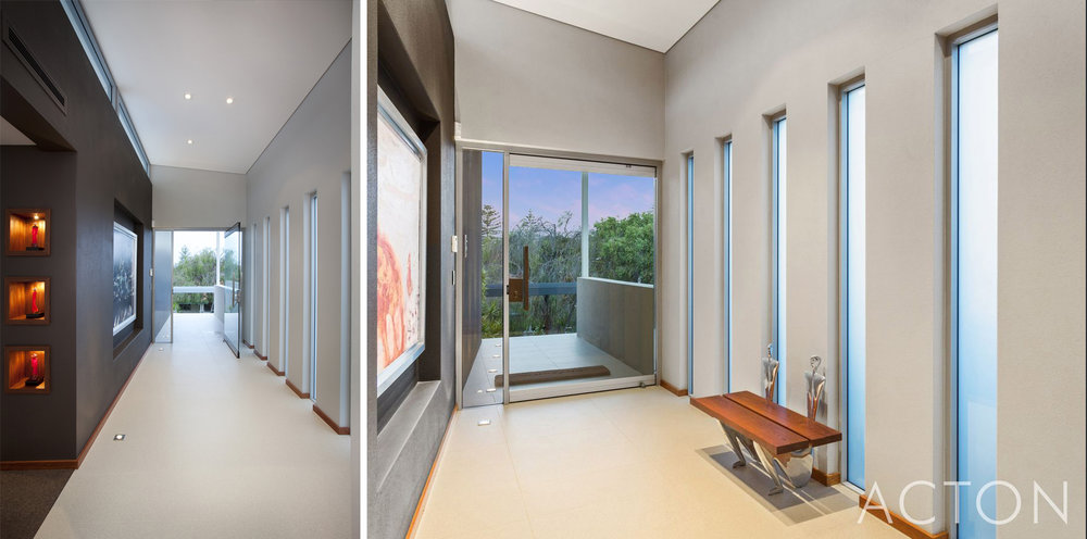 Photo taken looking back at the entry door. Left image showing when the home was first finished. Right image taken by Action Cottesloe for the sale. Only change is a few finishing touches.