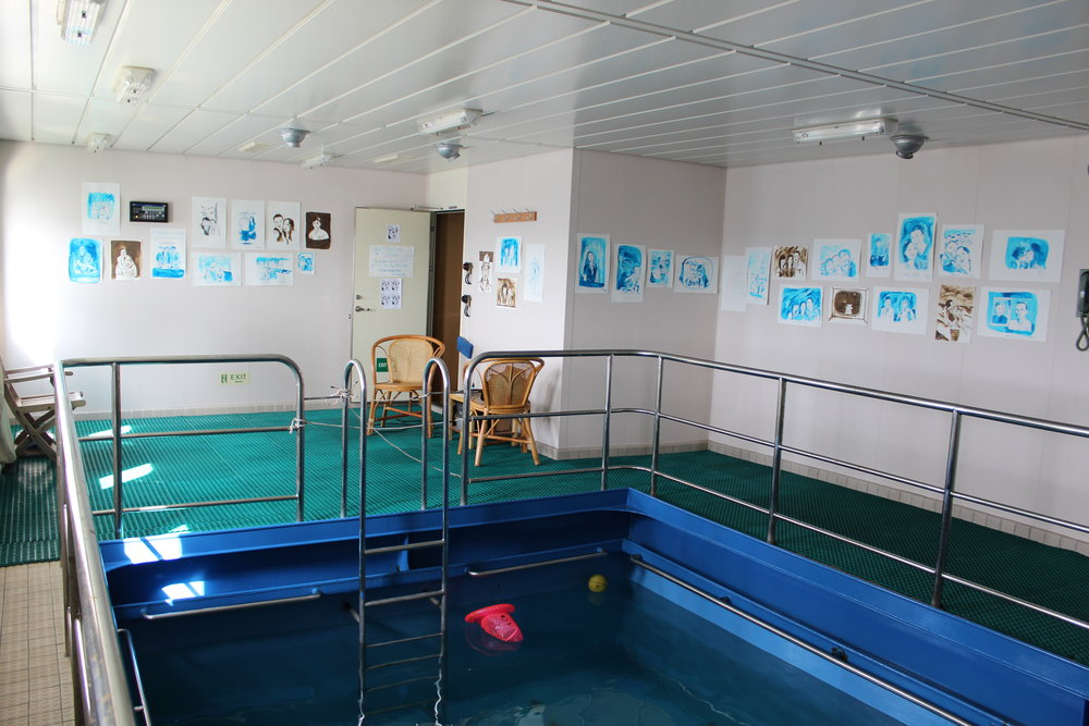 The captain let me use the swimming pool room on board to set up a studio and exhibition before disembarking.