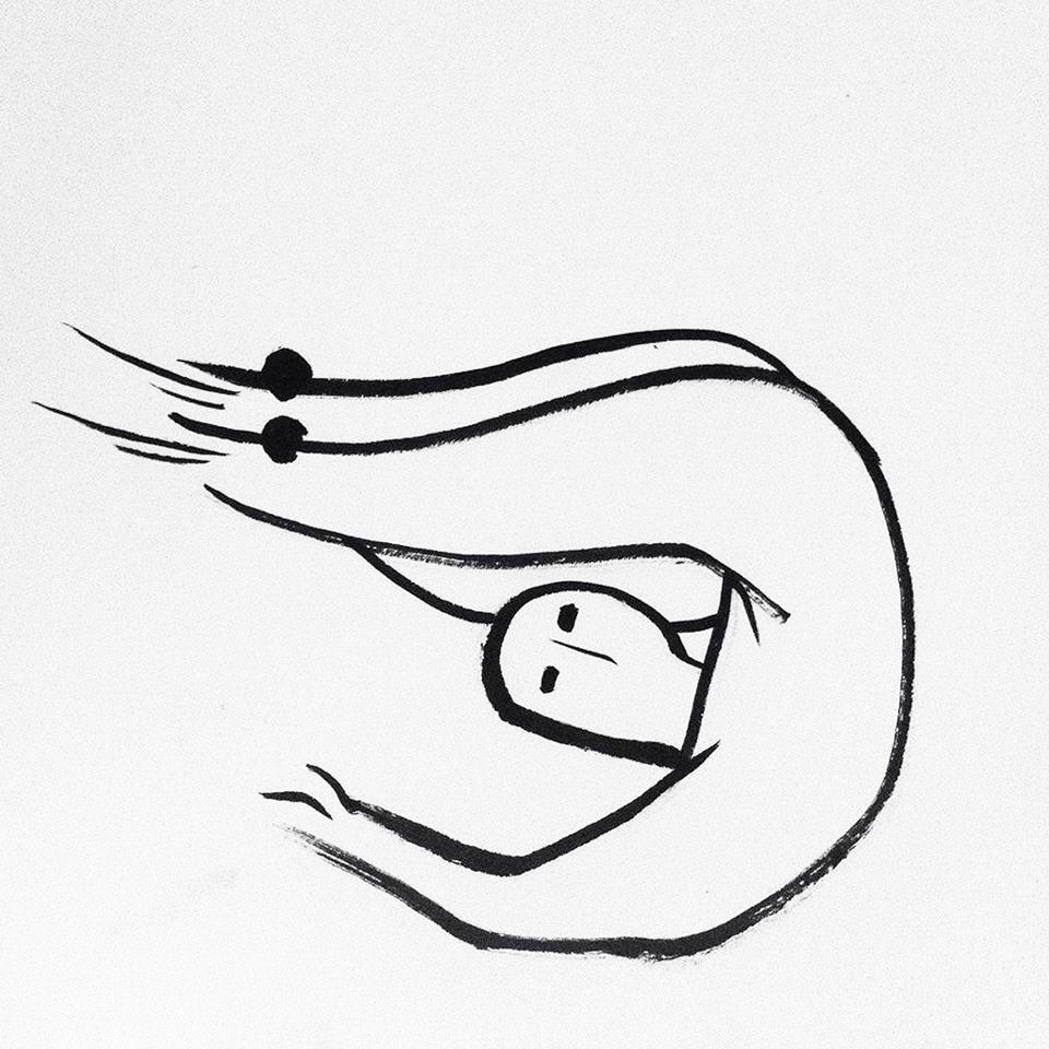 """bột tôm: một phiên âm láu lỉnh của bottom  literal translation """"shrimp powder"""": a playful Vietnamese pronunciation of bottom. phác họa/ drawing: Nguyễn Đức Huy"""