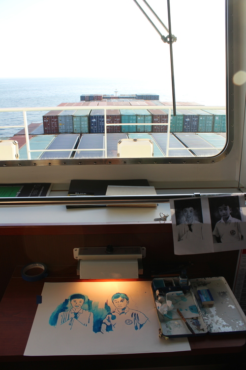 Working on portraits while onboard.