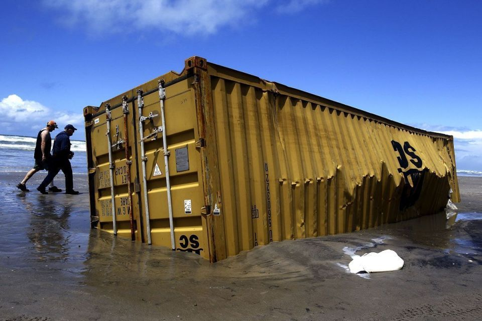container spillages - 10,000 containers fall into the sea every year. Some wash ashore.