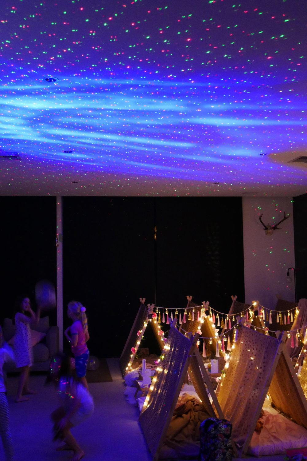 slumber party hire laser light slumber tribe