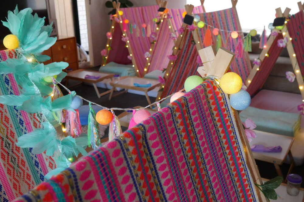 indi boho slumber party teepee hire