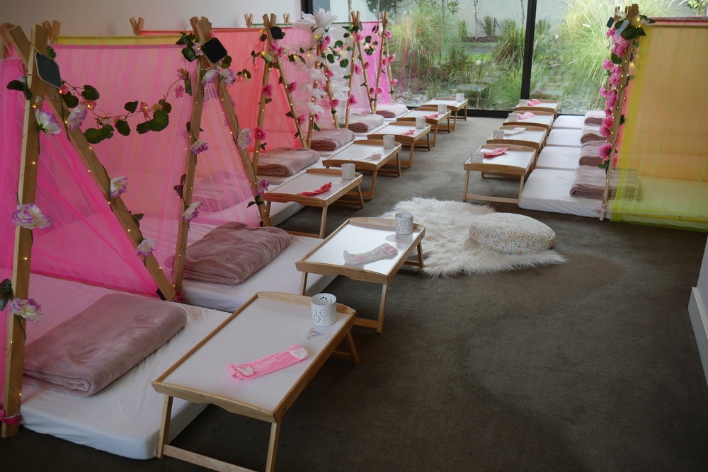sorbet dreams teepees for sleepover party hire