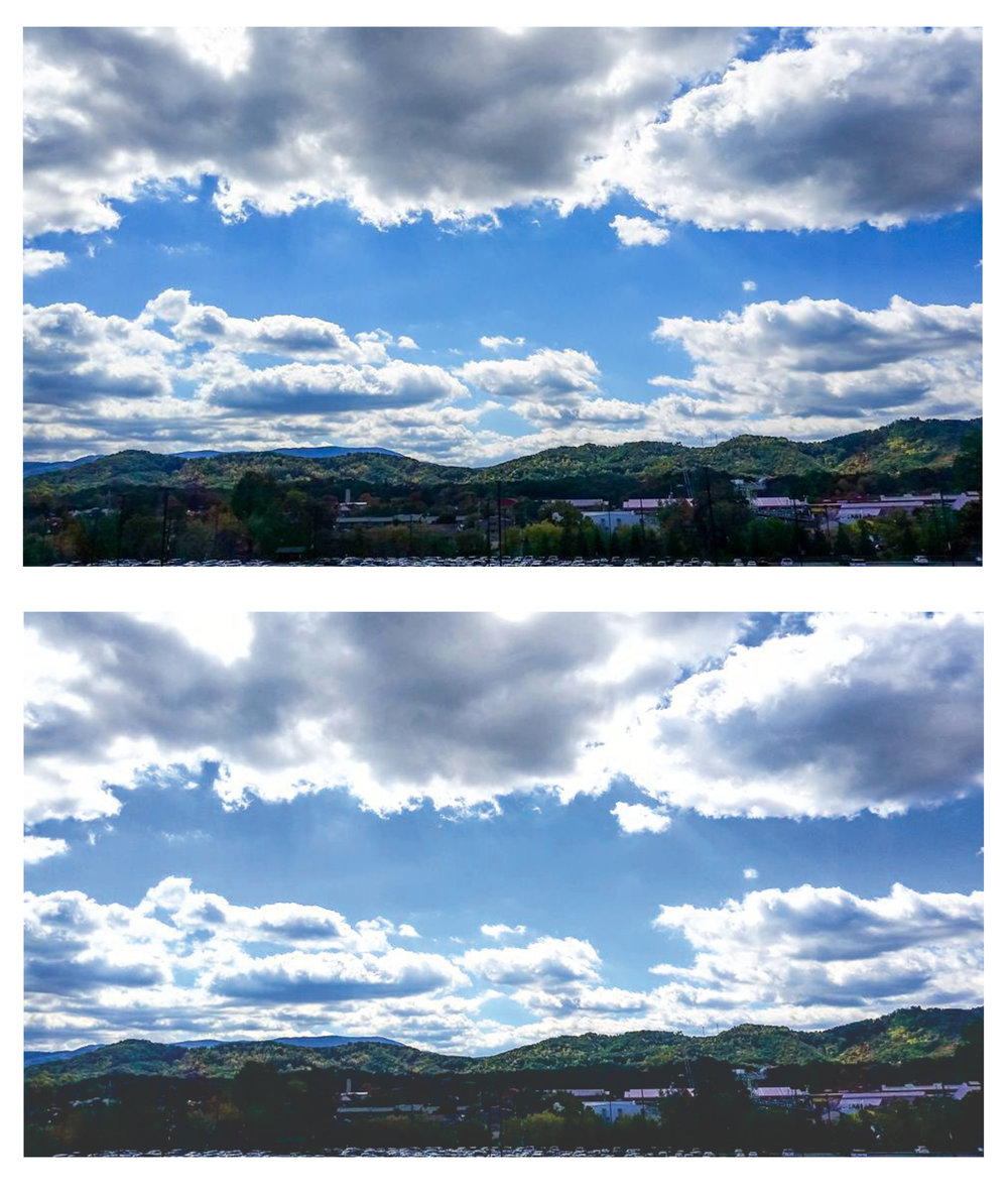 Top: Edited image of Pigeon Forge, TN  Bottom: Generic Instagram Filter Added