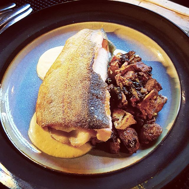 Rainbow trout raised in Idaho mountain streams. New potato from @frontaxlefarm hashed with onions and plobanos. Pear, ginger, olive oil emulsion.