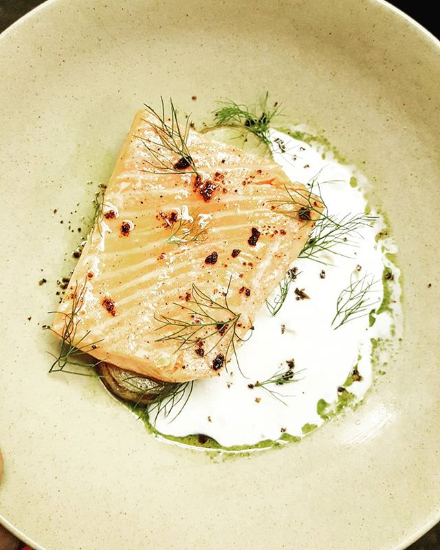 Substantially raised Coho salmon from Patagonia. Oil poached with potatoes confit topped with fennel oil and crispy salmon skin salt; aerated sauce made from horseradish, buttermilk, and bacon drippings.