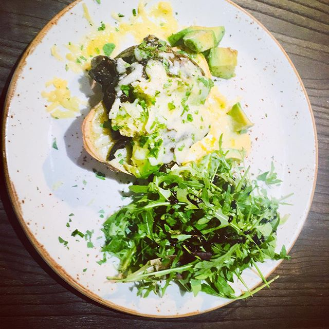 Loaded skins with Portobello mushrooms, avocado & Hereford Hop Cheese.  One of our lunch specials!