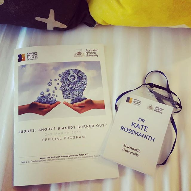 In Canberra presenting at the National Judicial College conference. Am loving listening to brilliant judges and researchers speak about their work... #nationaljudicialcollege #australiannationaluniversity #macquarieuniversity @hardiegrantbooks @mmccs_insta #smallwrongs #katerossmanith