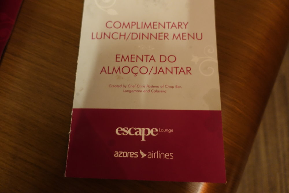 Escape Lounge Complimentary Menu