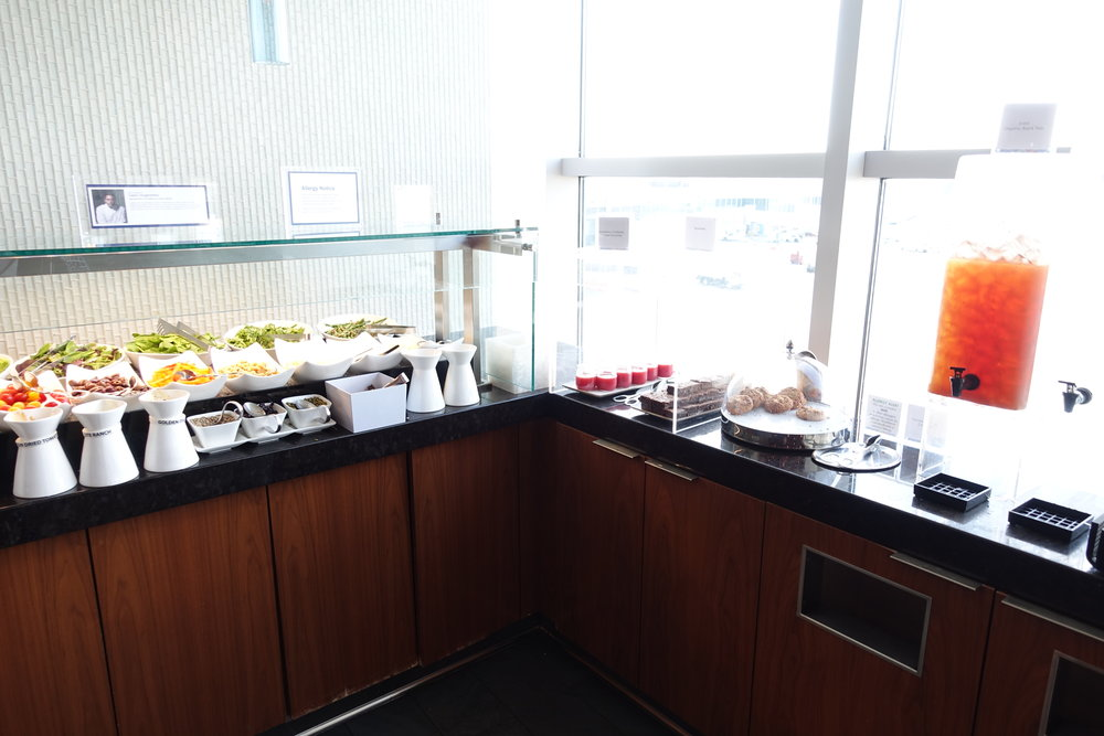 Salad bar (left), desserts (right), and drinks (far right)