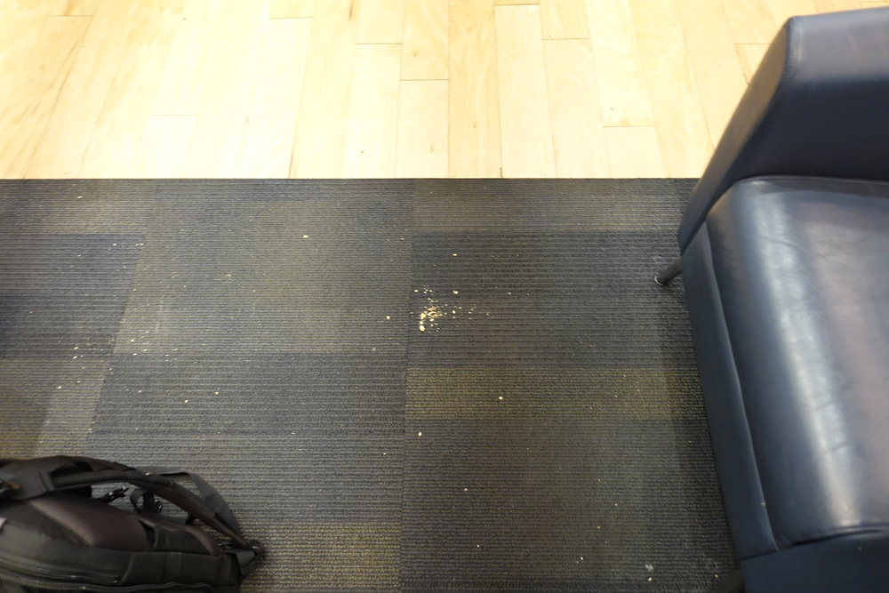 Crumbs on the floor
