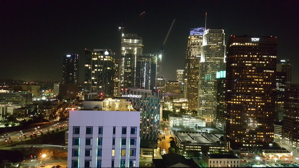 View of downtown LA at night