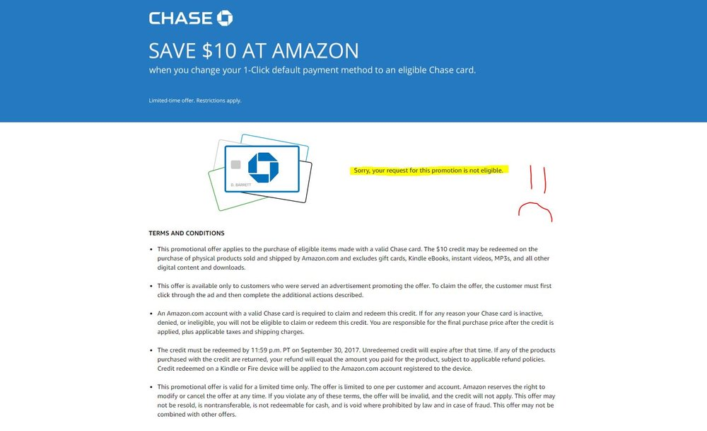 Save $10 at Amazon chase promo