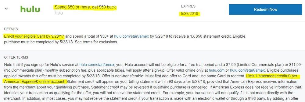 Hulu offer
