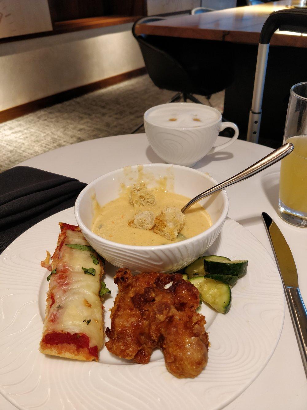 bruschetta, fried chicken, and potato soup