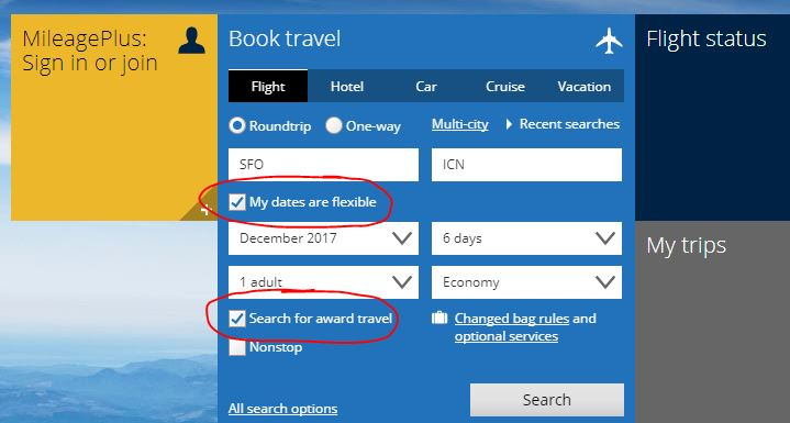 search for award travel
