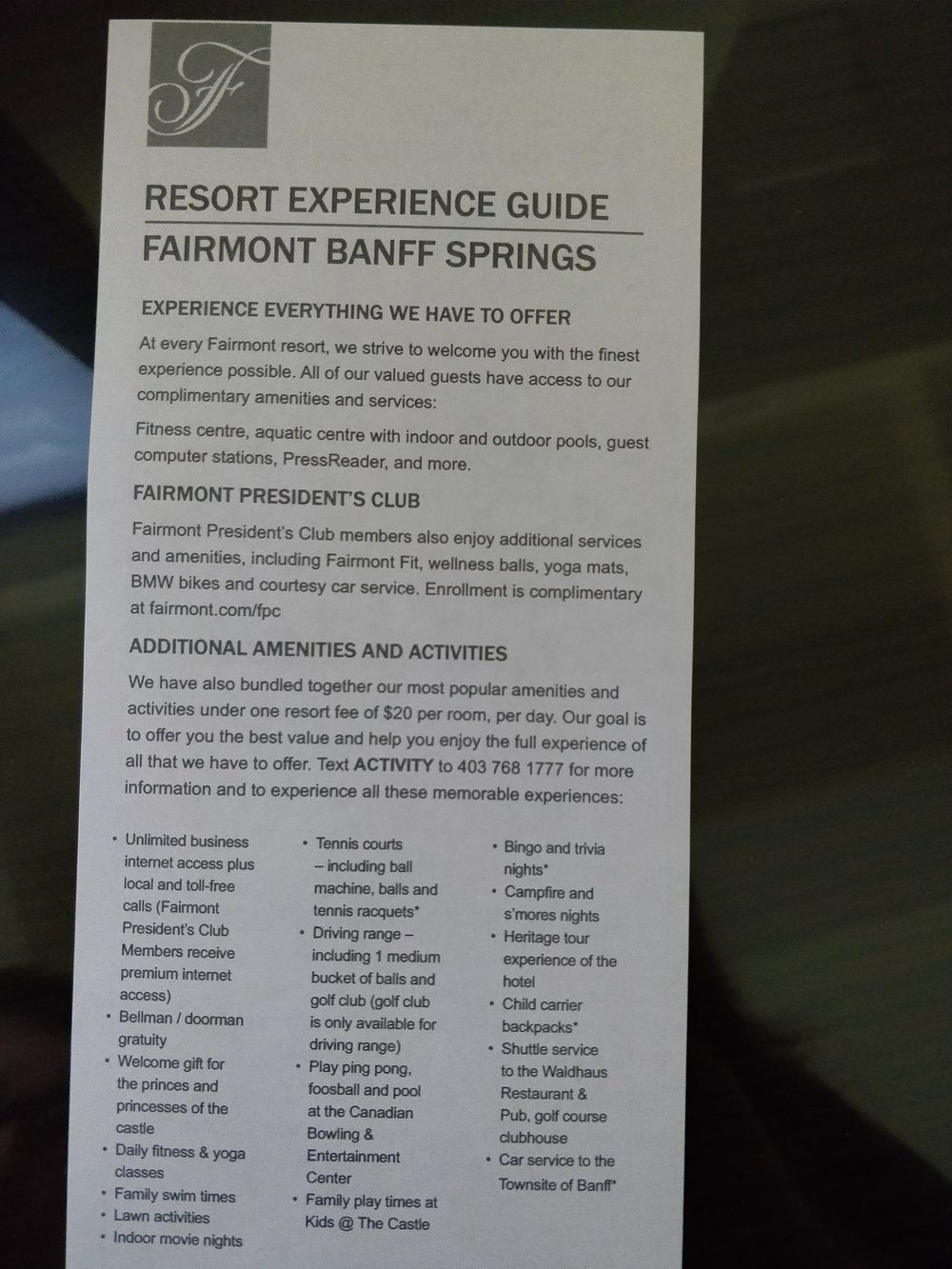 fairmont experience guide