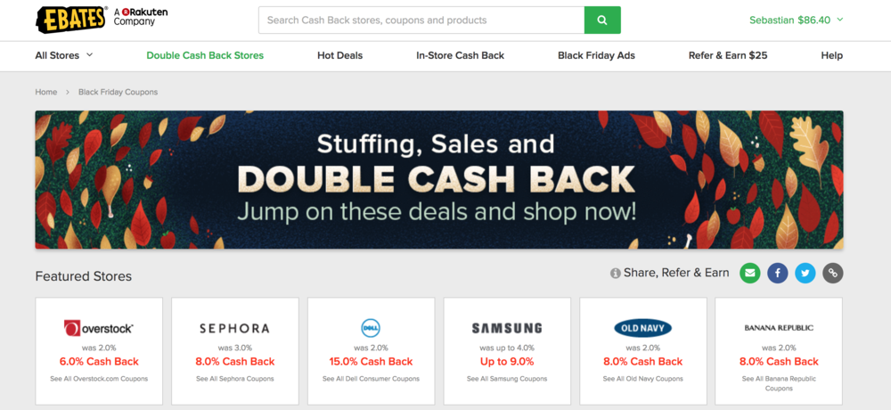 Ebates black friday sale