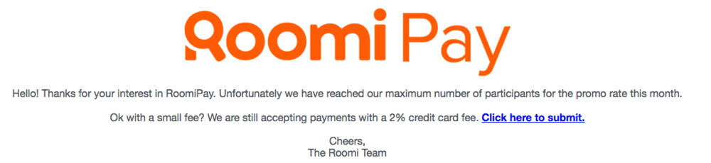 2% credit card fee