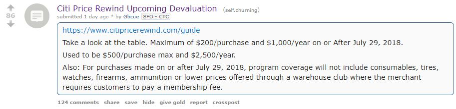 via https://www.reddit.com/r/churning/comments/89tvfv/citi_price_rewind_upcoming_devaluation/