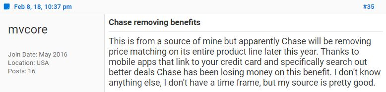 Chase removes price protection and return protection from select it seems like the removal of the protection are due to apps that automate the price protection claims process which in turn is costing chase more money malvernweather Gallery