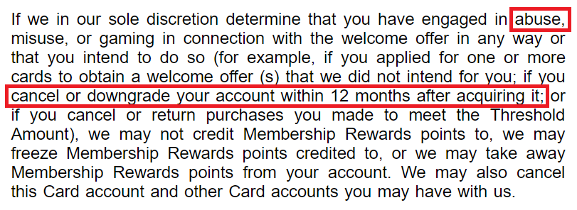 via amex terms of service