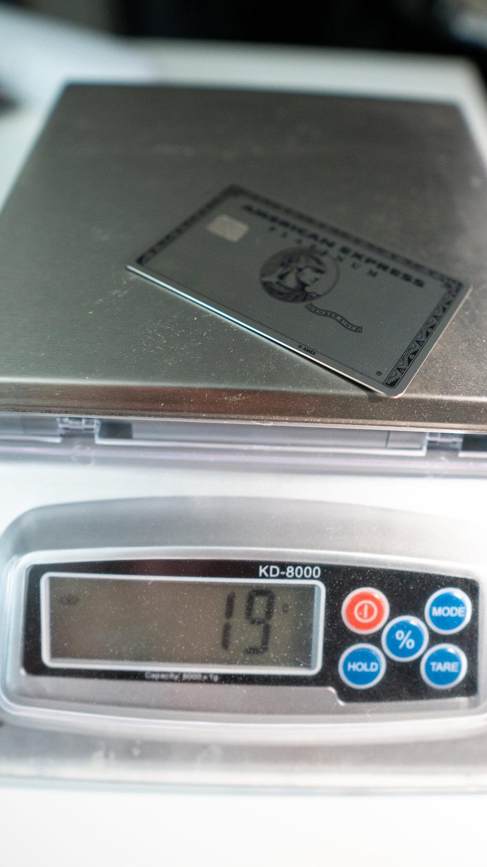 amex platinum weight
