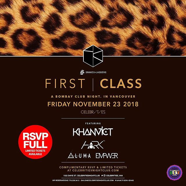 Are you guys ready for this Friday? Make sure you have your tickets fam, they are going fast! 💥 - First Class : Featuring @empwermusic @dj_hark @khanvictdj @alumasound  @snakesxladders @celebrities_van - #supportlocalartists #dj #clubevent #vancouver #burnaby #surrey #music #bass