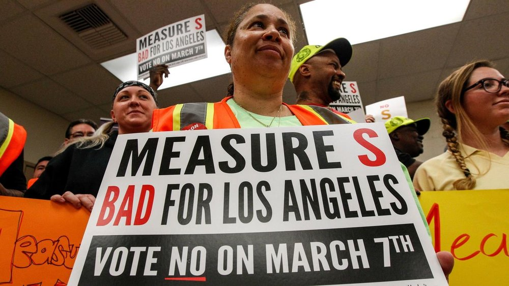 Vote No on Measure S. Image Credit:  LA Times
