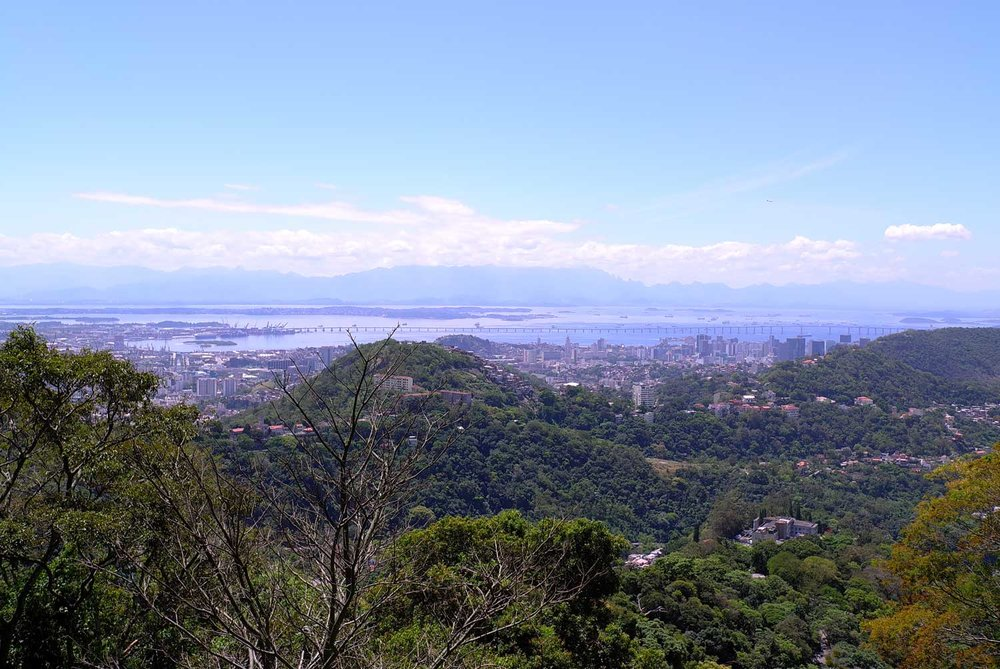 Wooded hillsides surround the city of Rio de Janeiro, with many of its rivers feeding directly in to Guanabara Bay.
