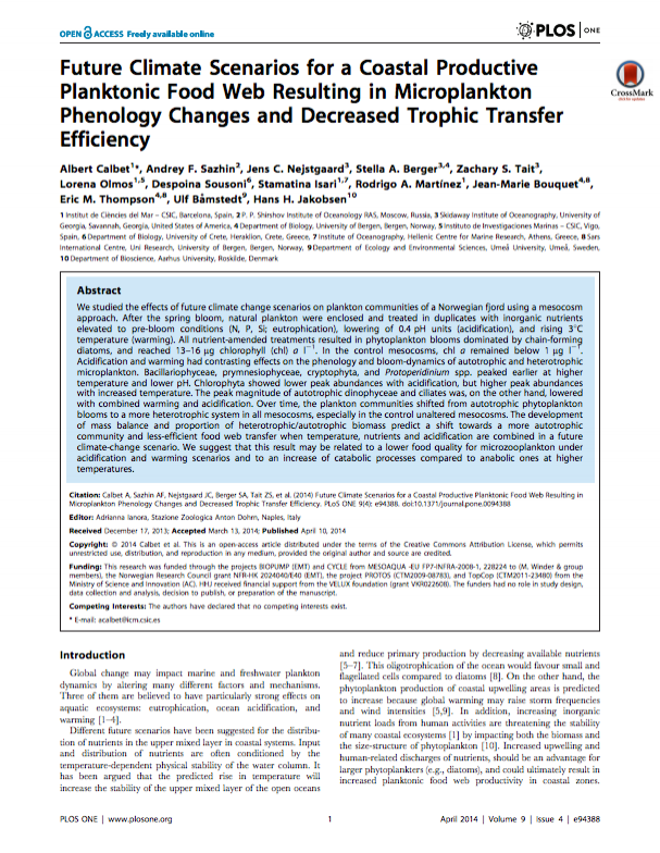 Calbet A, Sazhin AF, Nejstgaard JC, Berger SA, Tait ZS, et al. (2014) Future Climate Scenarios for a Coastal Productive Planktonic Food Web Resulting in Microplankton Phenology Changes and Decreased Trophic Transfer Efficiency. PLoS ONE 9(4): e94388. doi:10.1371/journal.pone.0094388.