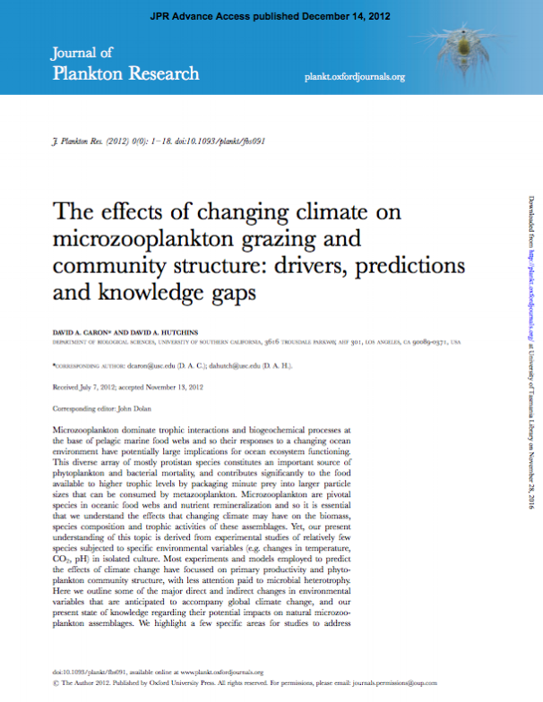 Caron, D.A. and Hutchins, D.A. (2013). The effects of changing climate on microzooplankton community structure and grazing: drivers, predictions and knowledge gaps. Journal of Plankton Research 35(2): 235-252. doi:10.1093/plankt/fbs091