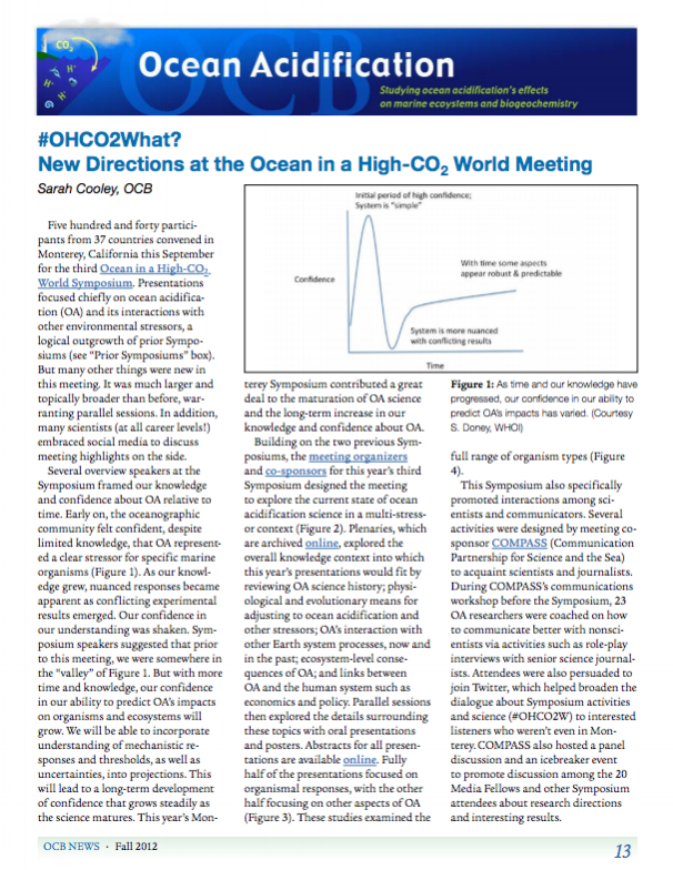 Cooley S., 2012. #OHCO2 What? New directions at the Ocean in a High-CO2 World Meeting. OCB Newsletter 13-17.