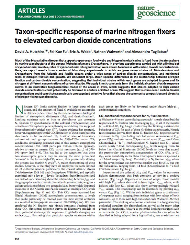 Hutchins, D.A., Fu F.X., Webb E.A., Walworth N., and Tagliabue, A. (2013). Taxon-specific response of marine nitrogen fixers to elevated carbon dioxide concentrations. Nature Geoscience 6(9): 790-795. doi: 10.1038/ngeo1858