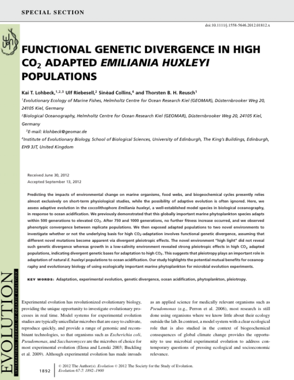 Lohbeck K. T., Riebesell U., Collins S. & Reusch T. B. H., 2013. Functional genetic divergence in high CO2 adapted Emiliania huxleyi populations. Evolution 67:1892-1900.