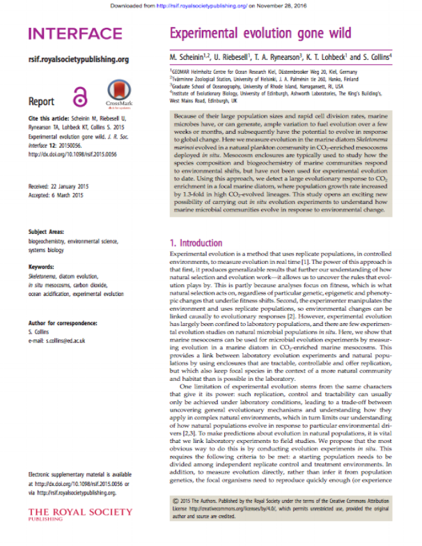 Scheinin M, Riebesell U, Rynearson TA, Lohbeck KT, Collins S. 2015 Experimental evolution gone wild. J. R. Soc. Interface 12: 20150056. http://dx.doi.org/10.1098/rsif.2015.0056